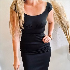 WHBM LBD Pleated Bust Belted Black Bodycon Dress 4